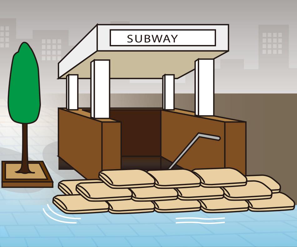 洪水時に地下鉄、地下道の浸水防止に役立つスーパーブロック