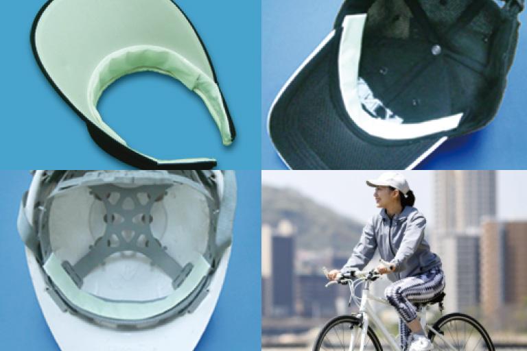 色々な帽子、ヘルメットに貼り付けたイメージ